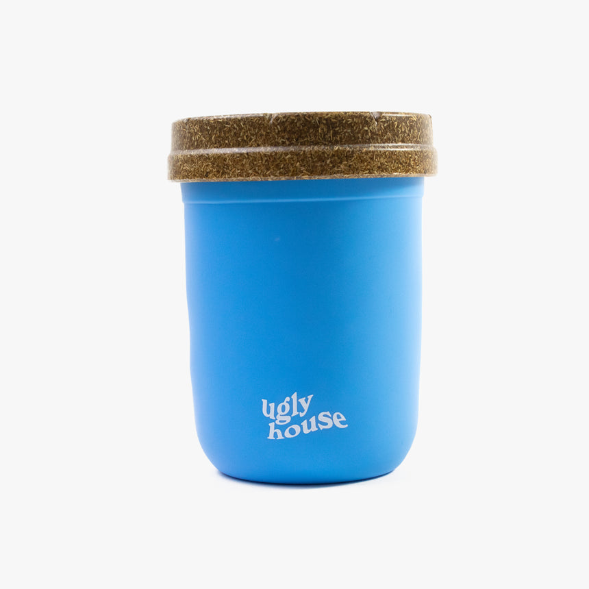 8 oz. Restash Jar- Light Blue/Brown Lid