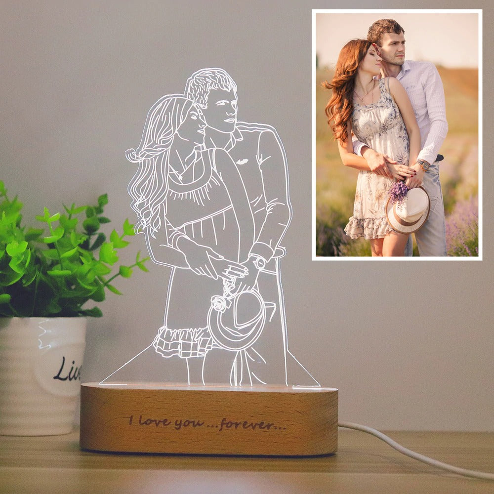 Personalized Custom Photo 3D Lamp | Photo&Text Custom Night Light | Wedding Anniversary | Birthday | Mother's Day | Father's day Gift