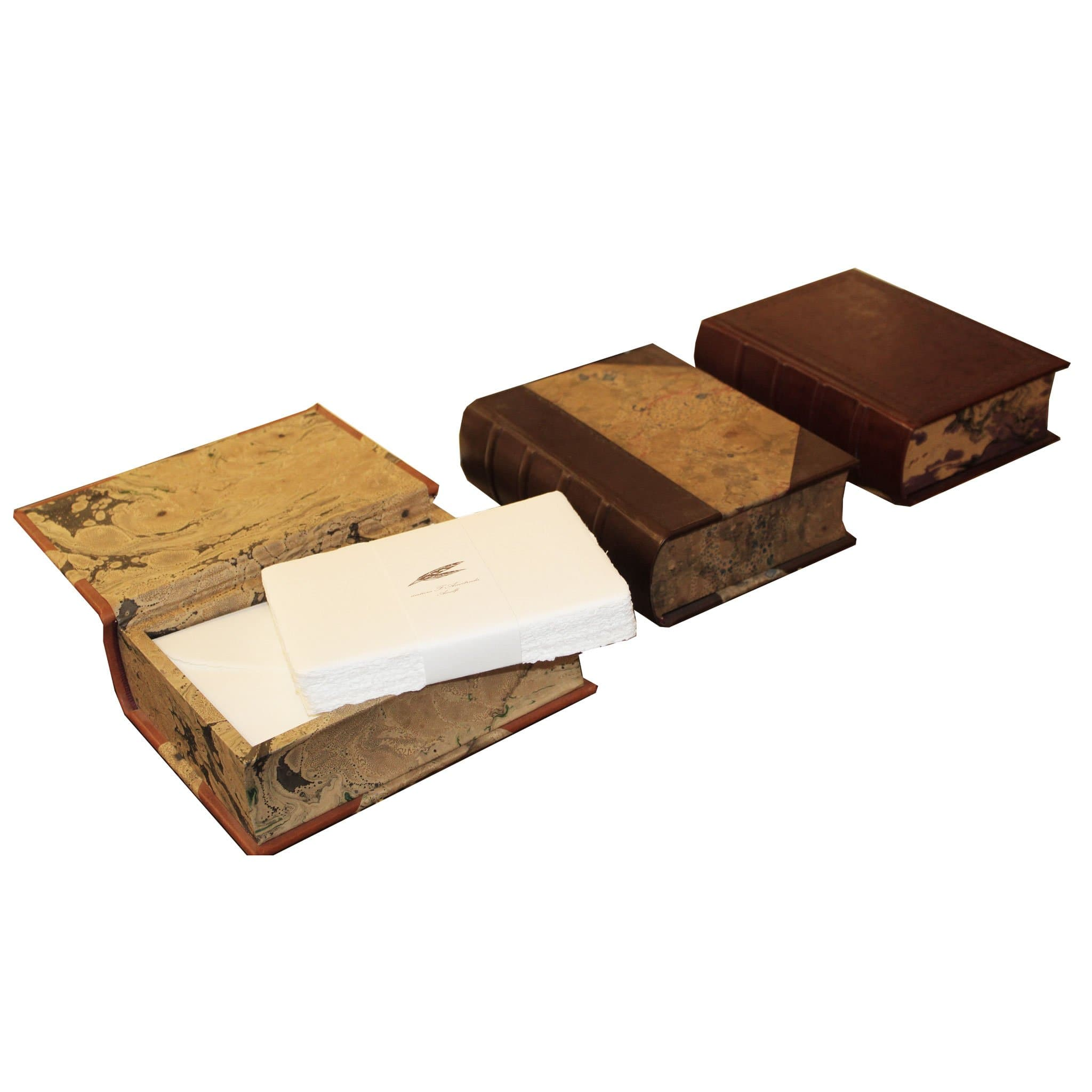 Book shaped leather storage box and Amalfi Handmade paper envelopes (50pc.) and letter paper (50pc.). [Free personalization - Choice of leather finish]