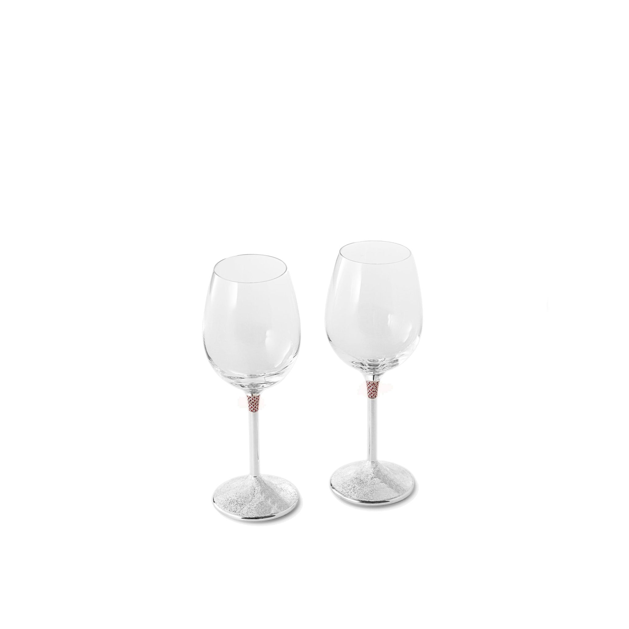 Wine crystal glasses - [Sterling Silver 925 - Rubies _ Diamonds]
