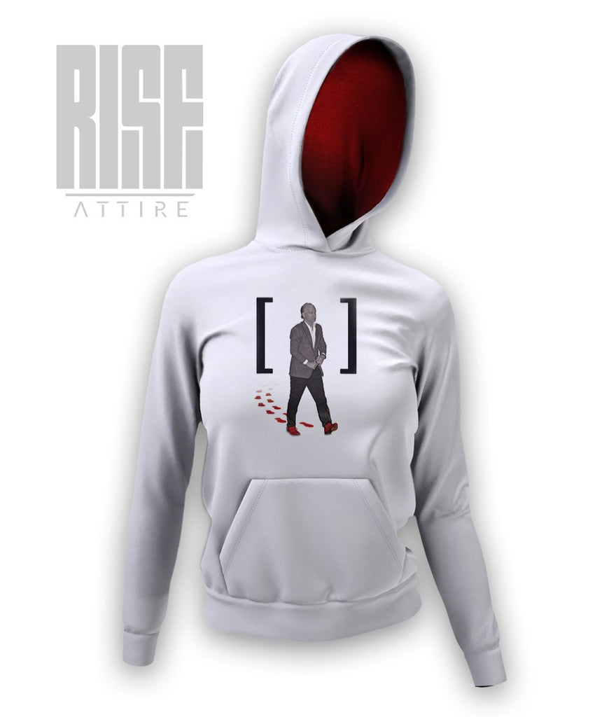 Red Shoe Club WHITE (Women's Hoodie) Womens Hoodie - Rise Attire