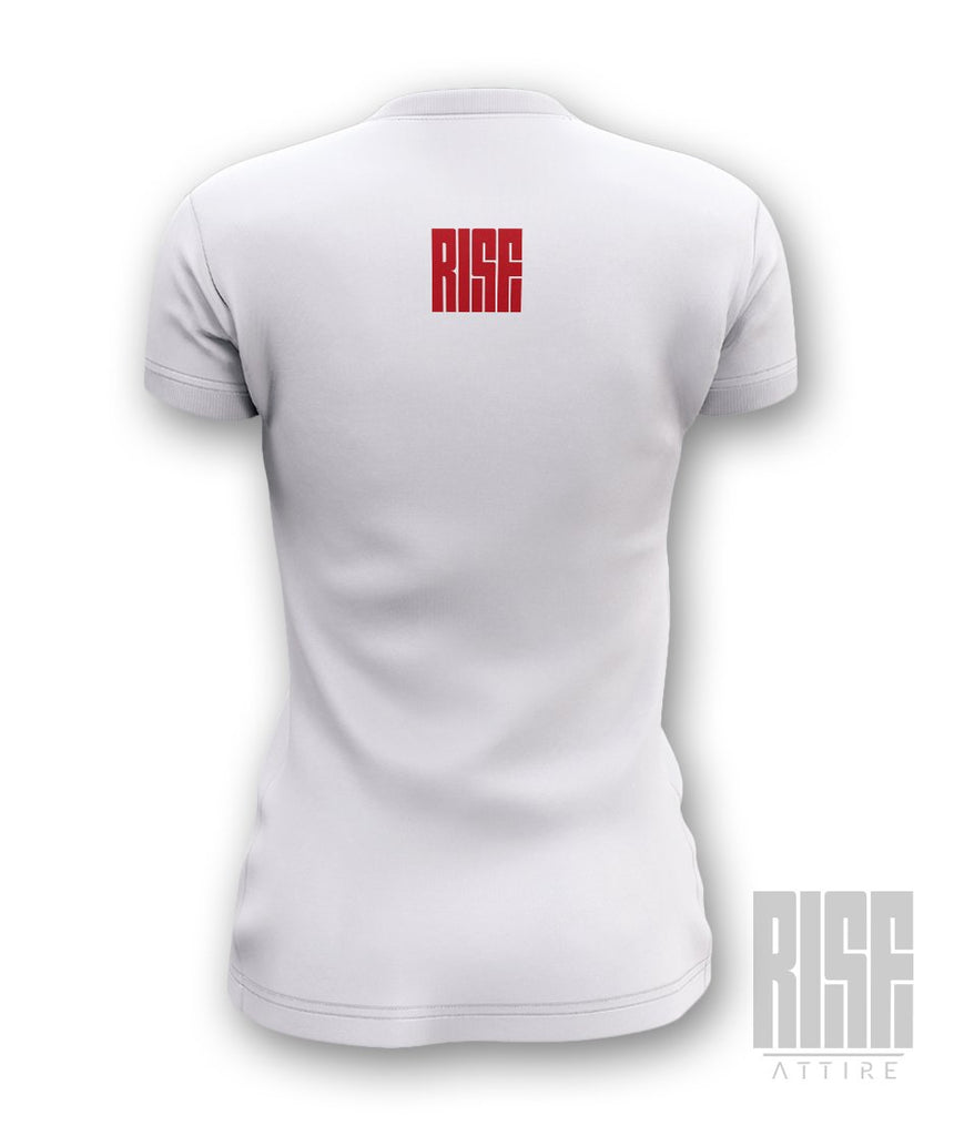 Red Shoe Club WHITE Womens V-Neck Tee - Rise Attire