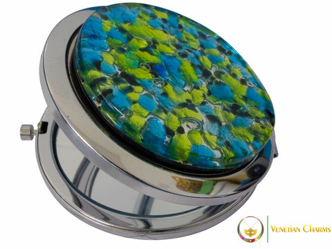 Silver Murano Glass Compact Mirror - Black/Blue/Lime Design - Venetian Charms  - 1