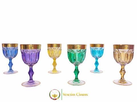 Murano Crystal Water Chalice Set - Provenza Design (NEW) - Venetian Charms  - 1
