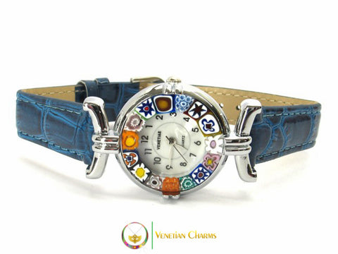 One Lady Chrome Murano Glass Watch - Blue - Venetian Charms
