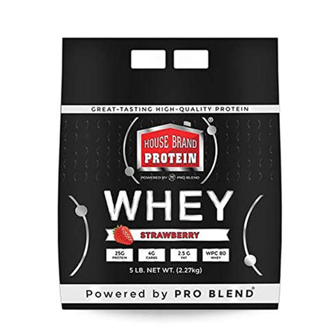 5 LBS HOUSE BRAND WHEY PROTEIN POWDER, STRAWBERRY