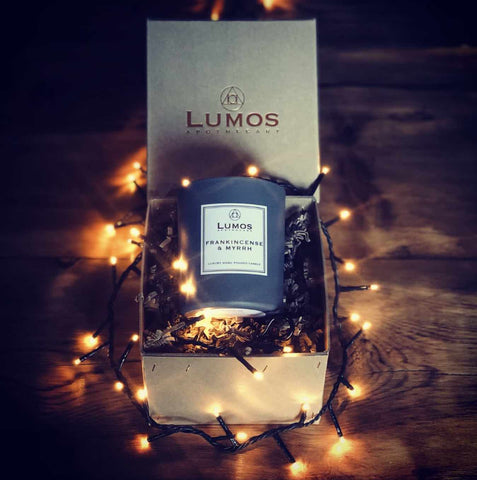 Frankincense & Myrrh Scented Soy Wax Candle. Monthly Candle Subscription Box In Hand Stitched Box With Fairy Christmas Lights