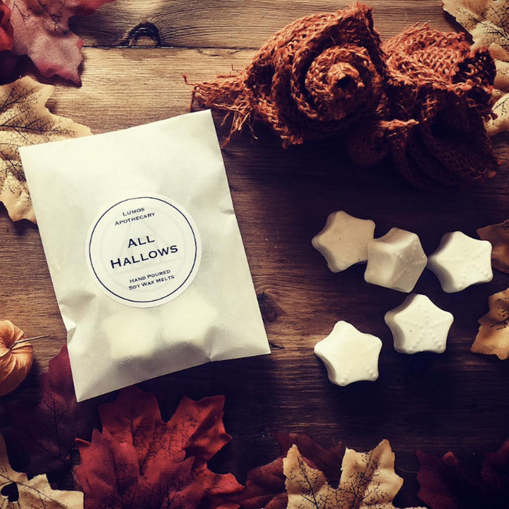 All Hallows Pumpkin Spice Scented Soy Wax Melts in Waxed Bag - Lumos Apothecary. Soy Wax Candles UK