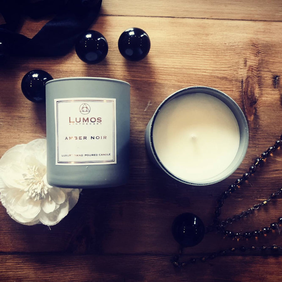 Amber Noir Scented Soy Candles in Grey Jars - Lumos Apothecary. Soy Wax Candles UK