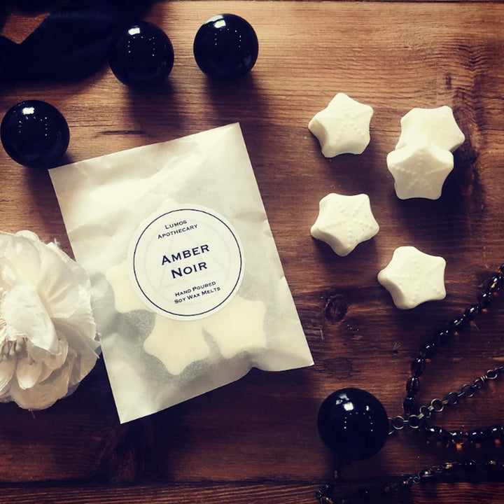 Amber Noir Scented Wax Melts In Waxed Bag - Lumos Apothecary. Soy Wax Candles UK