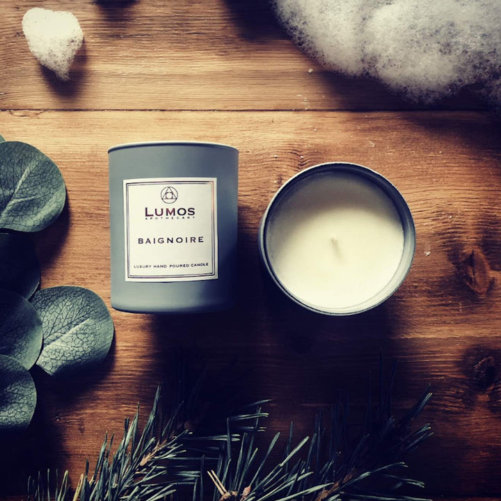 Baignoire Pine & Jasmine Scented Soy Candles in Grey Jars - Lumos Apothecary. Soy Wax Candles UK