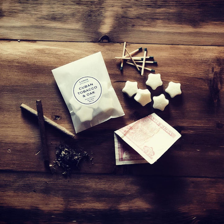 Cuban Tobacco & Oak Scented Soy Wax Melts In Waxed Bag - Lumos Apothecary. Soy Wax Candles UK