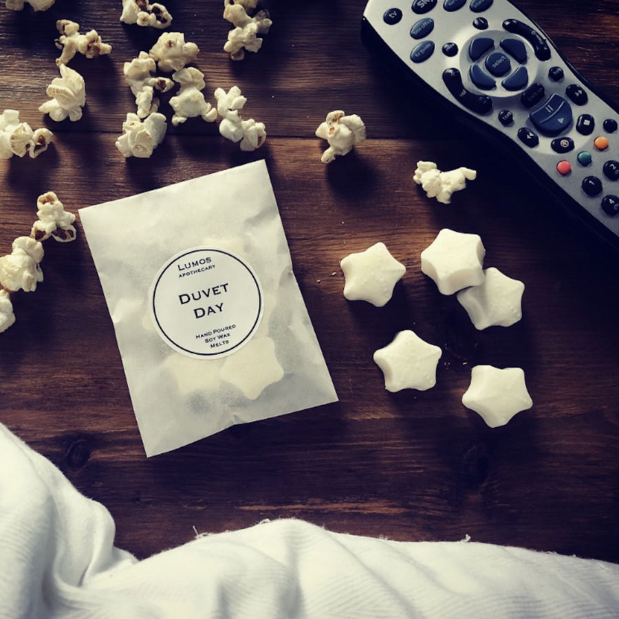 Duvet Day Scented Soy Wax Melts In Waxed Bag - Lumos Apothecary. Soy Wax Candles UK