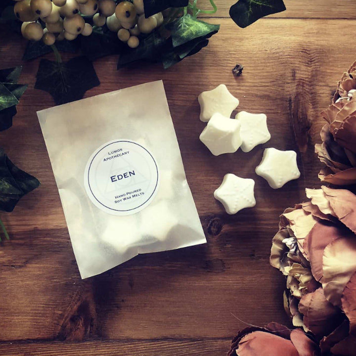 Eden Scented Soy Wax Melts In Waxed Bag - Lumos Apothecary. Soy Wax Candles UK