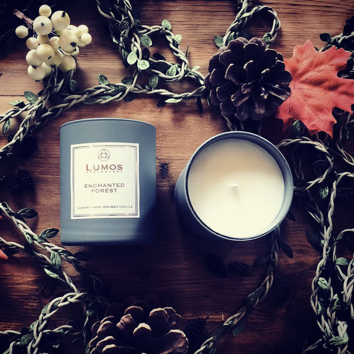 Enchanted Forest Scented Soy Candles in Grey Jars- Lumos Apothecary. Soy Wax Candles UK