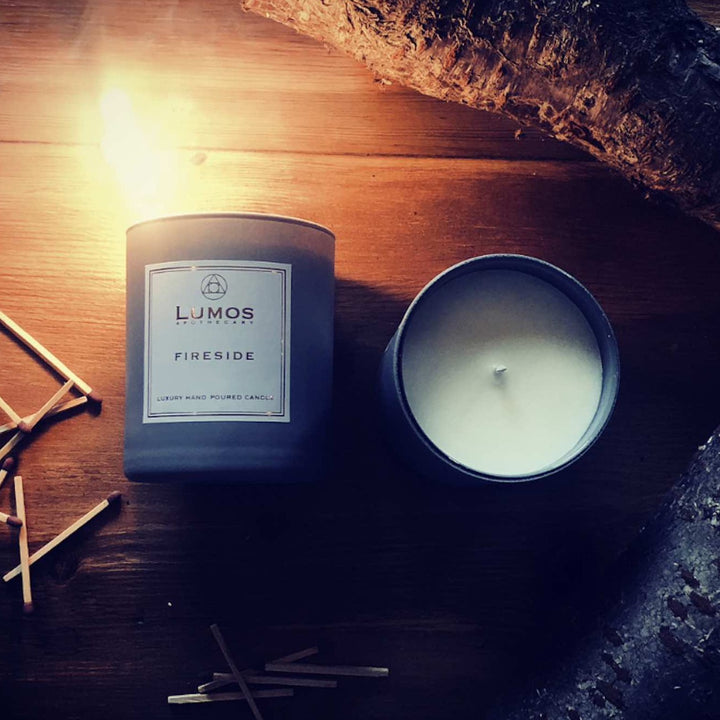 Fireside Scented Soy Candles in Grey Jars - Lumos Apothecary. Soy Wax Candles UK