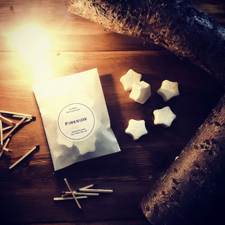 Fireside Scented Soy Wax Melts In Waxed Bag - Lumos Apothecary. Soy Wax Candles UK