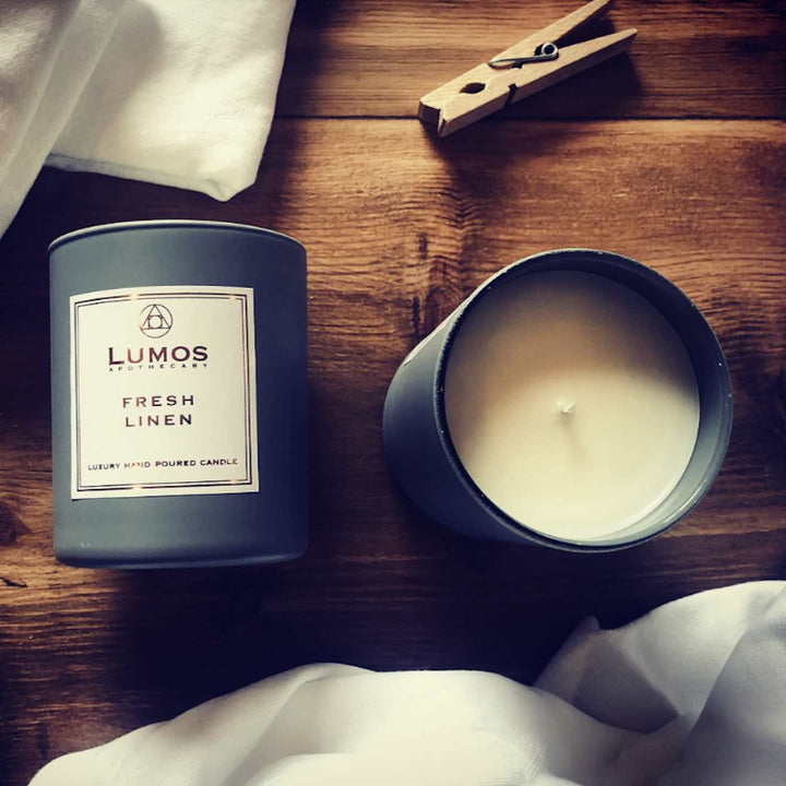 Fresh Linen Scented Soy Wax Candles In Grey Jars - Lumos Apothecary. Soy Wax Candles UK