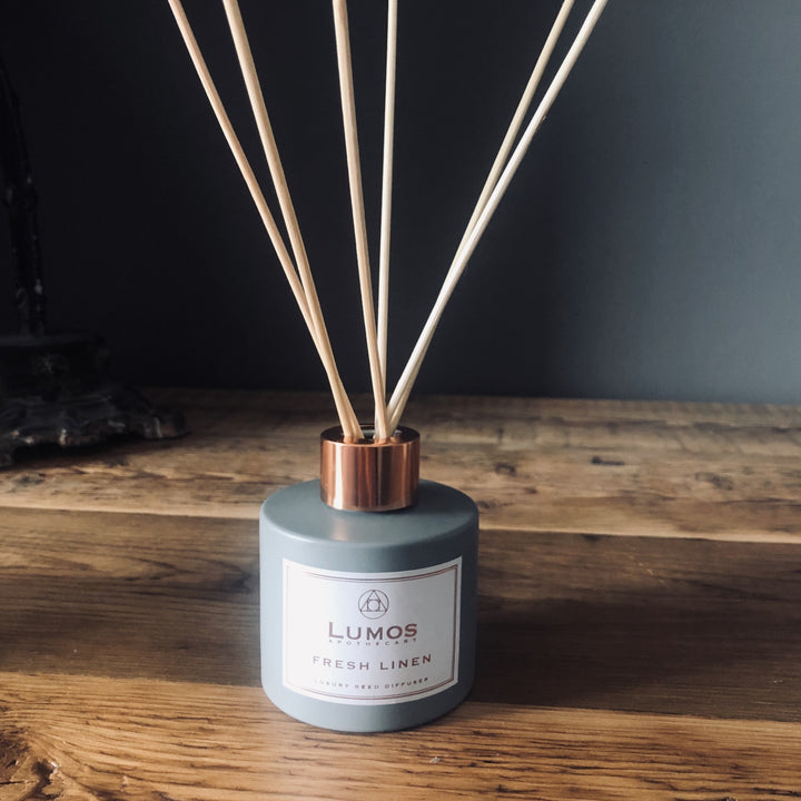 Fresh Linen Scented Reed Diffuser In Grey Bottle - Lumos Apothecary - Soy Wax Candles UK