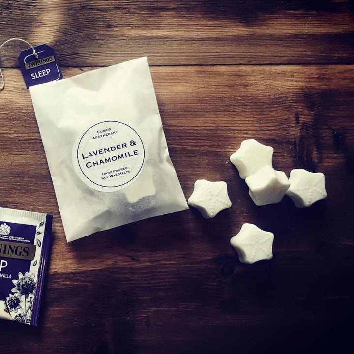 Lavender & Chamomile Scented Soy Wax Melts In Waxed Bags - Lumos Apothecary. Soy Wax Candles UK