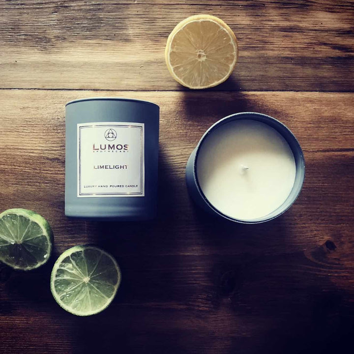 Limelight Scented Soy Wax Candles In Grey Jars - Lumos Apothecary. Soy Wax Candles UK