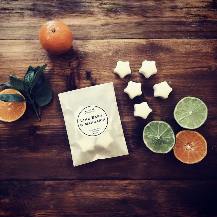Lime Basil & Mandarin Scented Soy Wax Melts In Waxed Bag - Lumos Apothecary. Soy Wax Candles UK