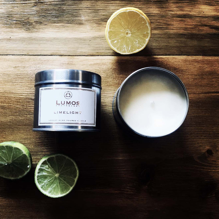 Limelight Scented Soy Wax Candles In Silver Tins - Lumos Apothecary. Soy Wax Candles UK