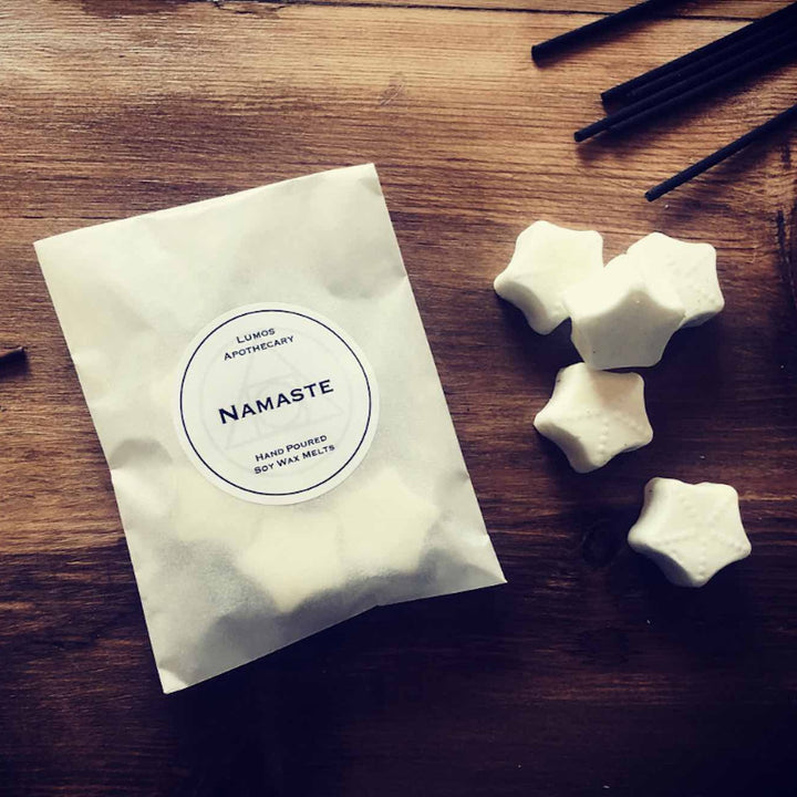 Namaste Nag Champa Incense Scented Soy Wax Melts In Waxed Bag - Lumos Apothecary. Soy Wax Candles UK
