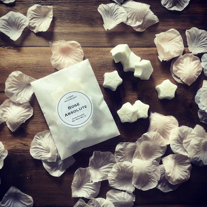 Rose Absolute Scented Soy Wax Melts In Waxed Bag - Lumos Apothecary. Soy Wax Candles UK