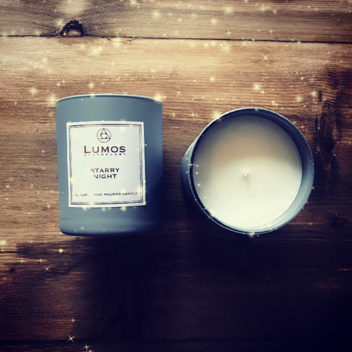 Starry Night Scented Soy Candles in Grey Jar - Lumos Apothecary. Soy Wax Candles UK