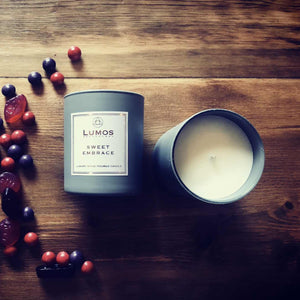 Sweet Embrace Scented Soy Candles in Grey Jars - Lumos Apothecary. Soy Wax Candles UK