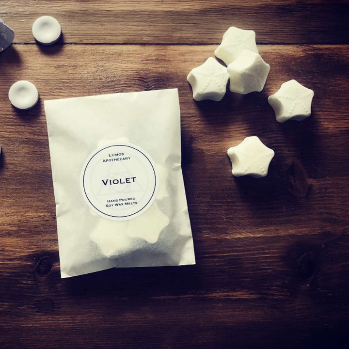 Violet Scented Soy Wax Melts In Waxed Bag - Lumos Apothecary. Soy Wax Candles UK