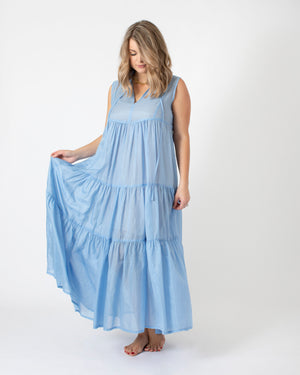 Load image into Gallery viewer, Kori Long Sleeveless Dress in Light Blue