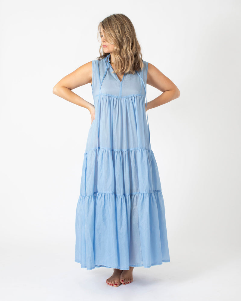 Kori Long Sleeveless Dress in Light Blue