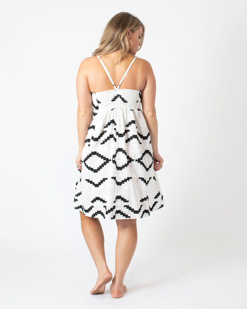 Load image into Gallery viewer, Kori Short Strap Dress in White/Black