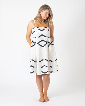 Load image into Gallery viewer, Kori Short Strap Dress in White/Blue