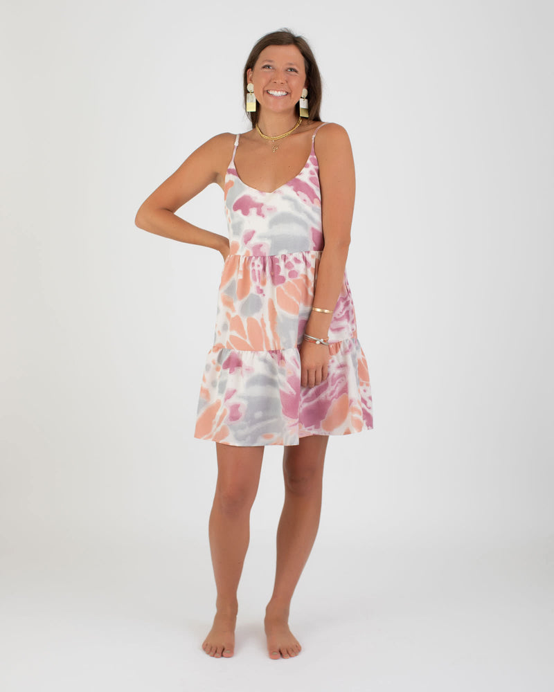Coral Tie Dye Tiered Mini