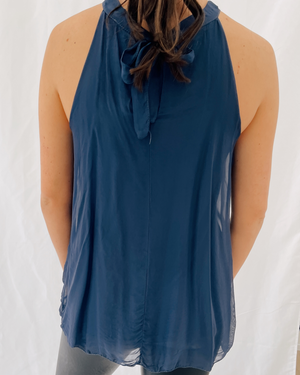 Load image into Gallery viewer, Sofia Silk Tank in Navy