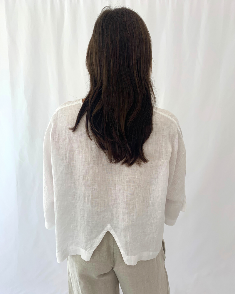 Load image into Gallery viewer, 3/4 Sleeve Linen Top in White