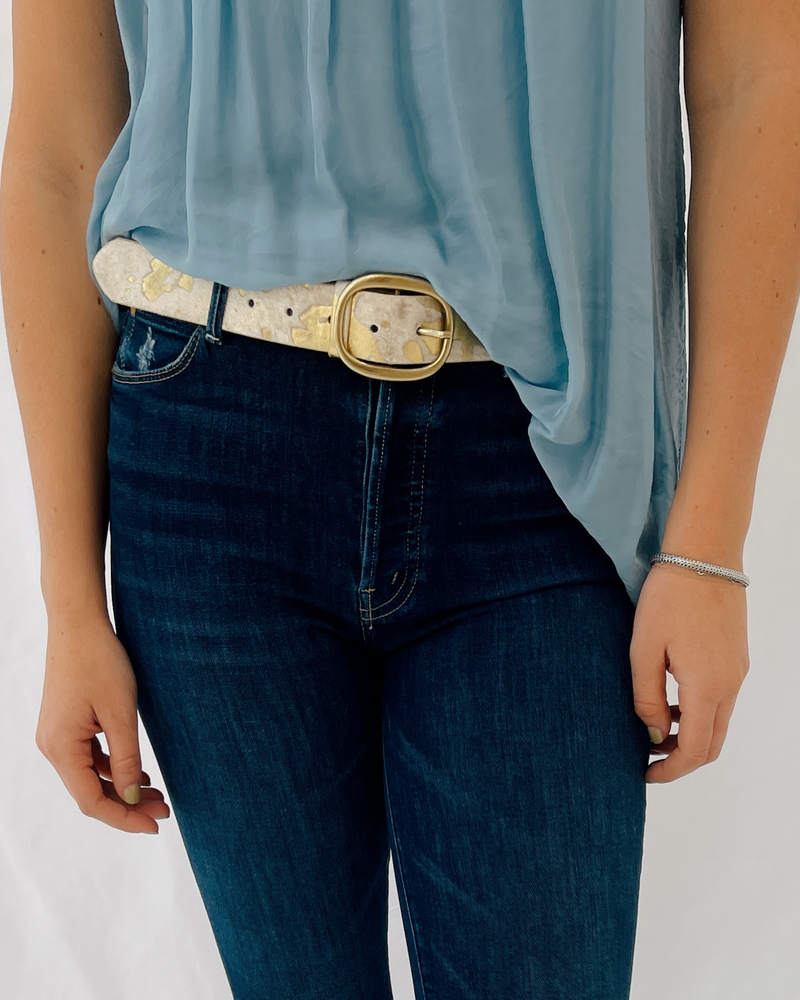 Cow Hair Animal Print Belt in White/Gold
