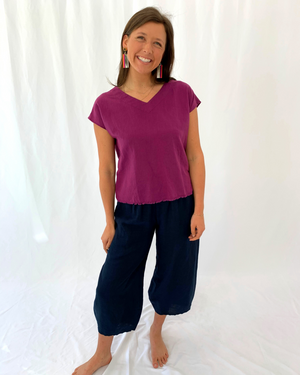 Load image into Gallery viewer, Short Sleeve Linen Top with Frayed Edge Detail in Orchid