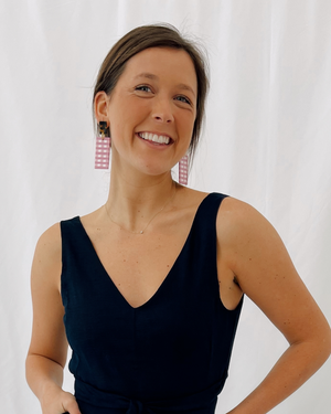 Load image into Gallery viewer, Pink Gingham Horn Earrings