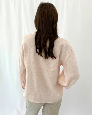 Load image into Gallery viewer, Long Sleeve Linen Collared Shirt in Blush