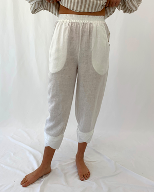 Load image into Gallery viewer, Slim Linen Pant in White