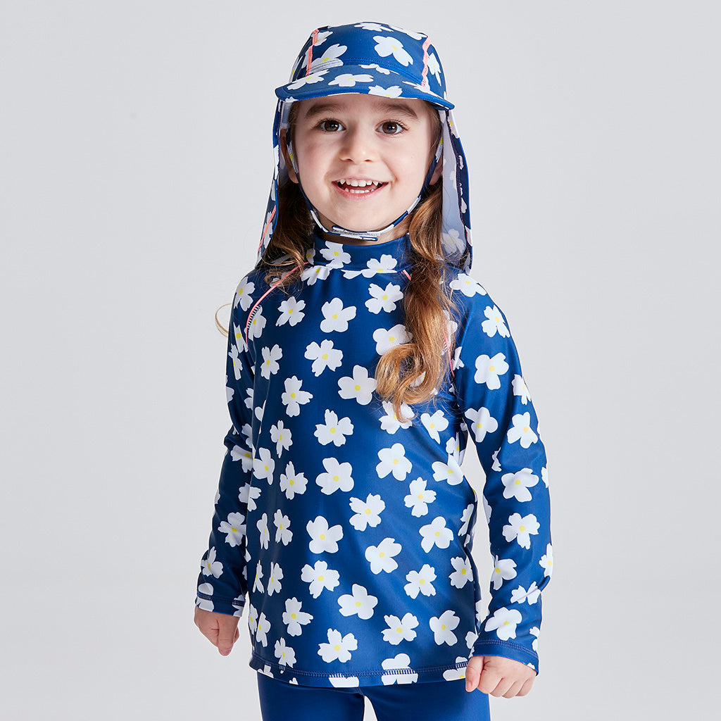 Kids Long Sleeve Swim Rashie - Navy Daisy Fields