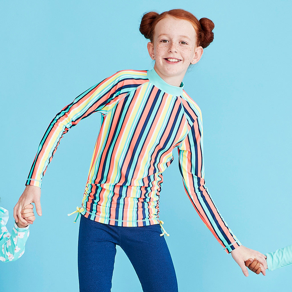 Kids Long Sleeve Swim Rashie - Rainbow Pool Party