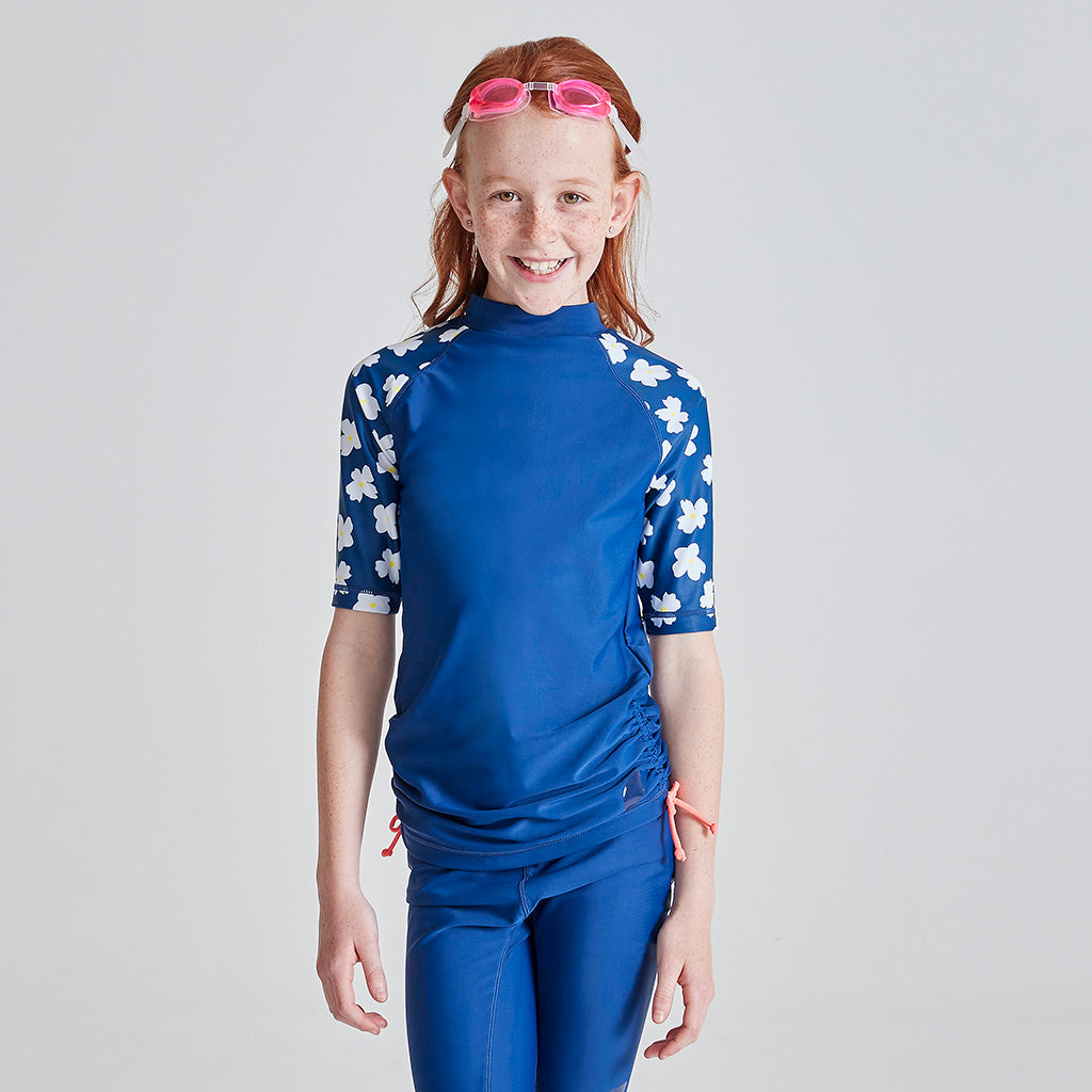 Kids Short Sleeve Swim Rashie - Navy Daisy Fields