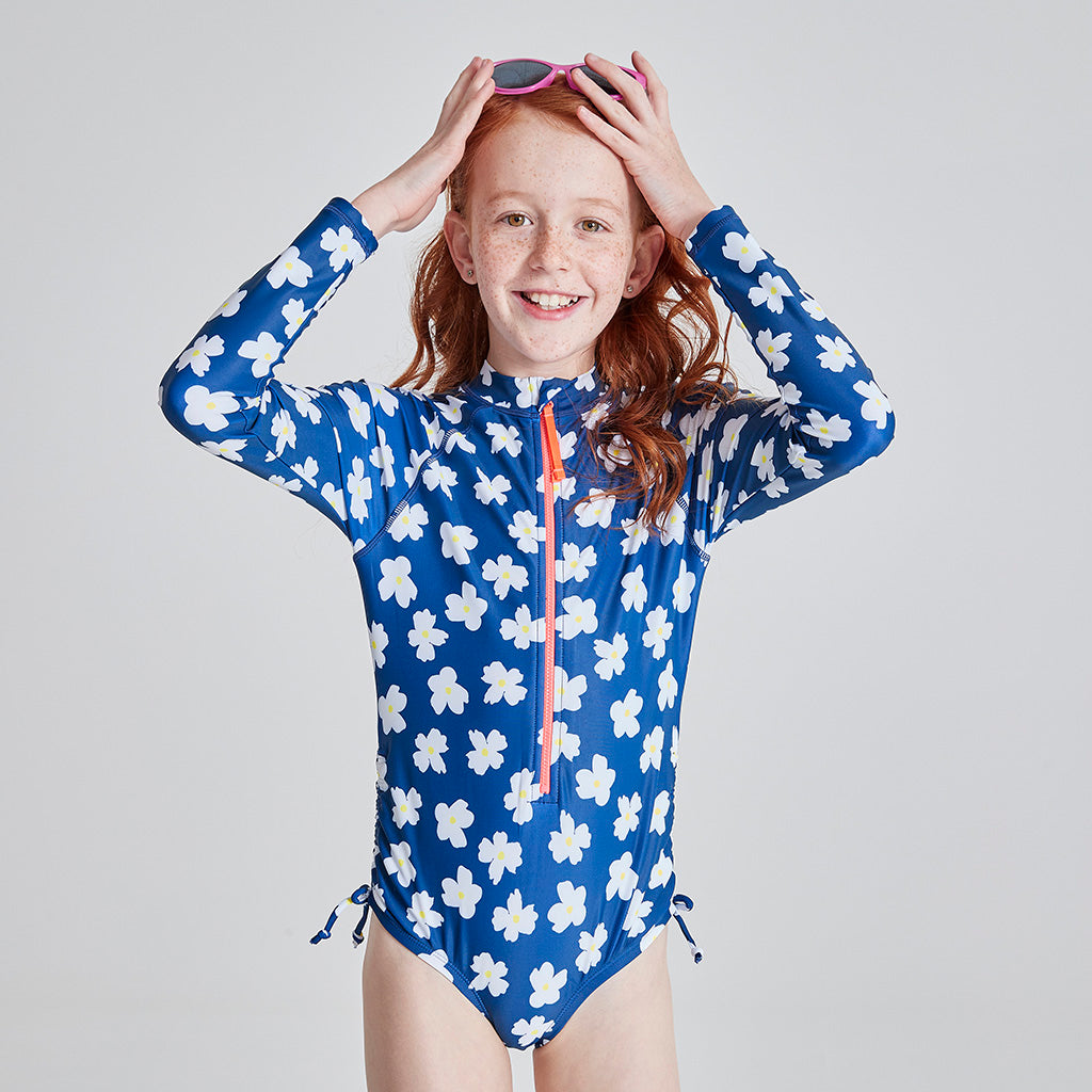 Kids Long Sleeve Paddle Suit - Navy Daisy Fields
