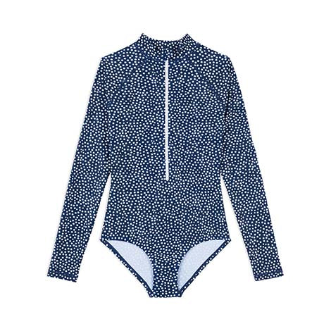 Womens Long Sleeve Paddle Suit - Navy Daisy Fields