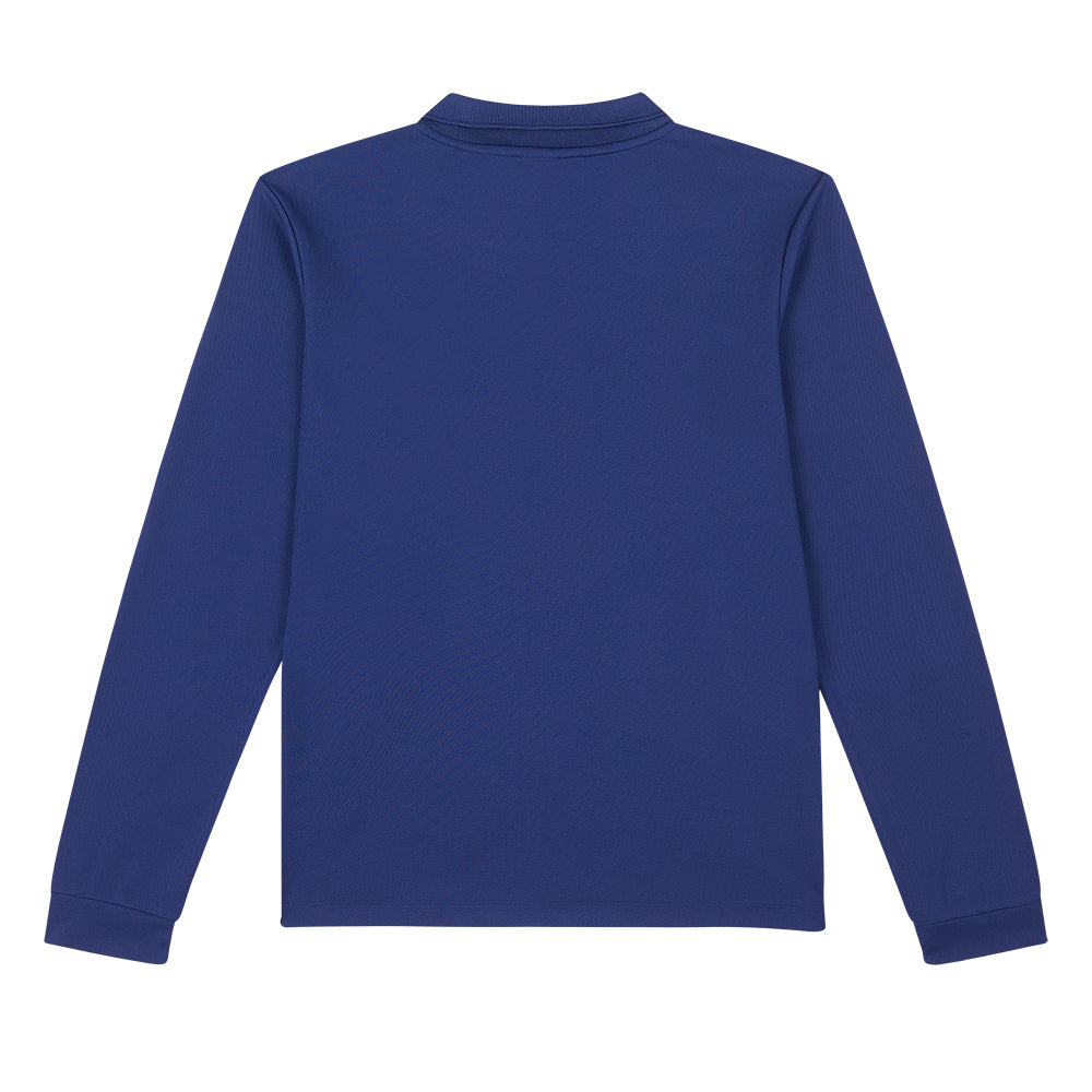 Mens Knitted Long Sleeve Polo - Navy